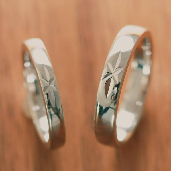 ペアリング マリッジリング 結婚指輪 ホワイトゴールド K18 2本セット|cococaru|02