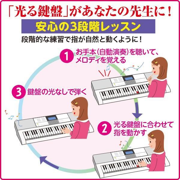 【7月下旬から、順次発送】カシオ 大人の楽らくキーボード LK-516 送料無料  ピアノ キーボード 自動演奏 光る鍵盤|cococimo|04