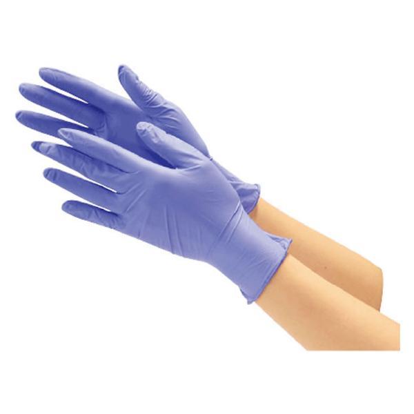 川西工業/ニトリル使いきり極薄手袋 粉なし ブルー SS 100枚