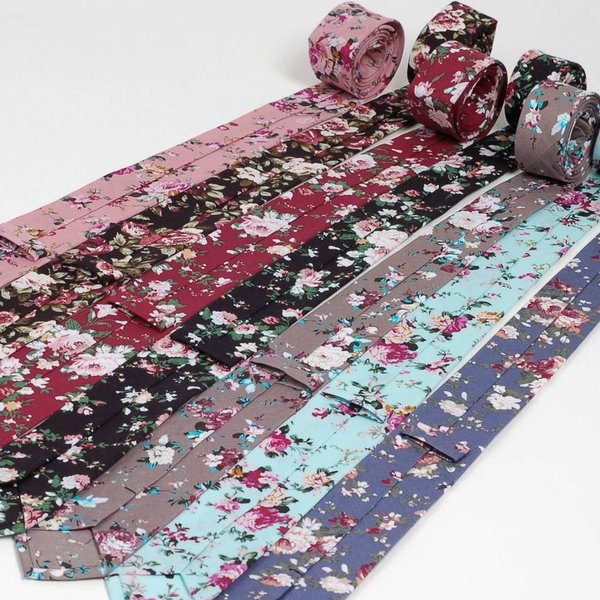 ナロータイ 花柄 ネクタイ スリム メンズ レディース スキニー フローラル コットンタイ 綿素材 マットな質感 15種 花見 バラ ローズ 大剣幅6cm|coconoco|08
