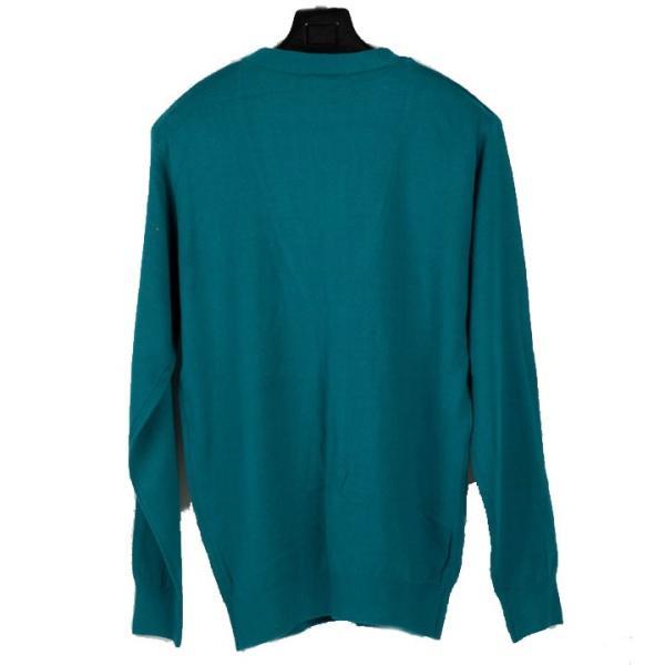 カーディガン メンズ ビジネス スタンダード Yネック ウォームビズ ブルーグリーン 緑 Mサイズ|coconoco|02