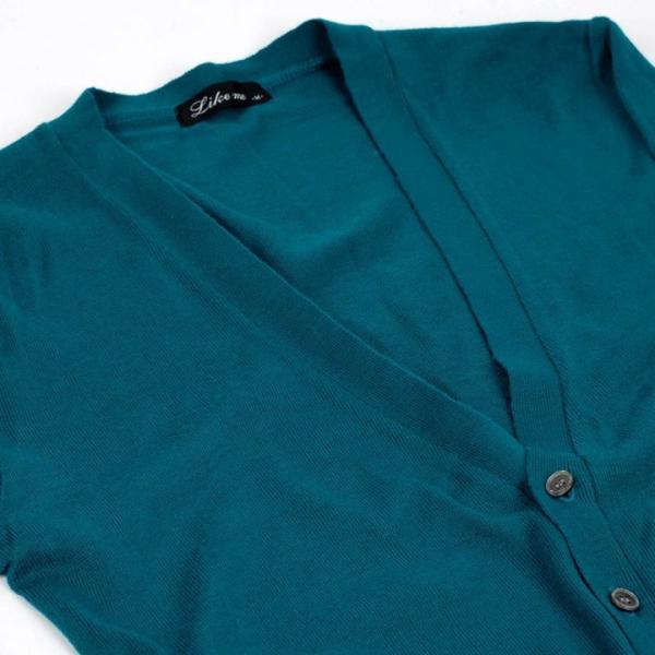 カーディガン メンズ ビジネス スタンダード Yネック ウォームビズ ブルーグリーン 緑 Mサイズ|coconoco|03