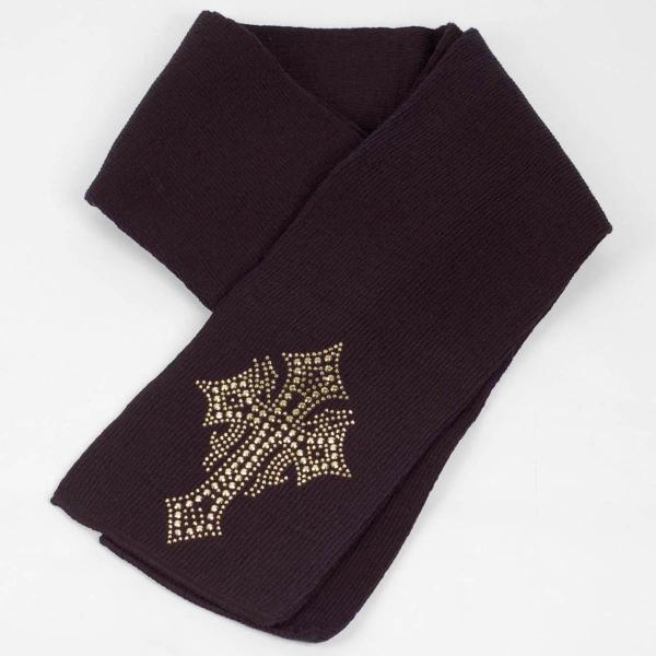 マフラー 冬 スター クロス  ビジュー ラインストーン飾り 黒 フリンジなし スタンダード シンプル アクリル素材|coconoco