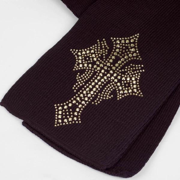 マフラー 冬 スター クロス  ビジュー ラインストーン飾り 黒 フリンジなし スタンダード シンプル アクリル素材|coconoco|02