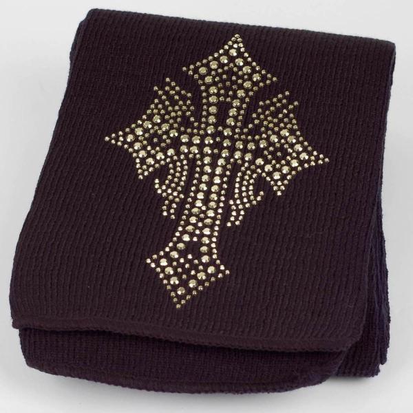 マフラー 冬 スター クロス  ビジュー ラインストーン飾り 黒 フリンジなし スタンダード シンプル アクリル素材|coconoco|03