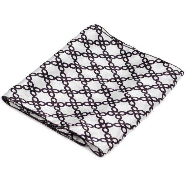 ストール メンズ ネック スカーフ チェーン 鎖柄 白黒 シルクタッチ 細長スカーフ ロング スカーフ 送料無料 coconoco