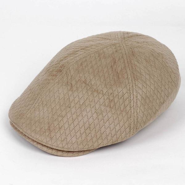 ハンチング メンズ レディース ベージュ色 スエード フェイクレザー 6枚 はぎ キャップ 帽子 55cm ゴムバンド式 coconoco