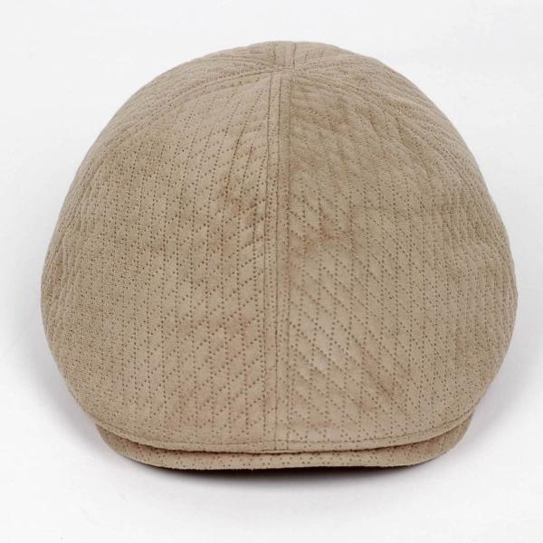 ハンチング メンズ レディース ベージュ色 スエード フェイクレザー 6枚 はぎ キャップ 帽子 55cm ゴムバンド式 coconoco 02