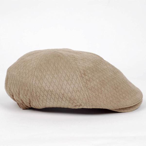 ハンチング メンズ レディース ベージュ色 スエード フェイクレザー 6枚 はぎ キャップ 帽子 55cm ゴムバンド式 coconoco 03