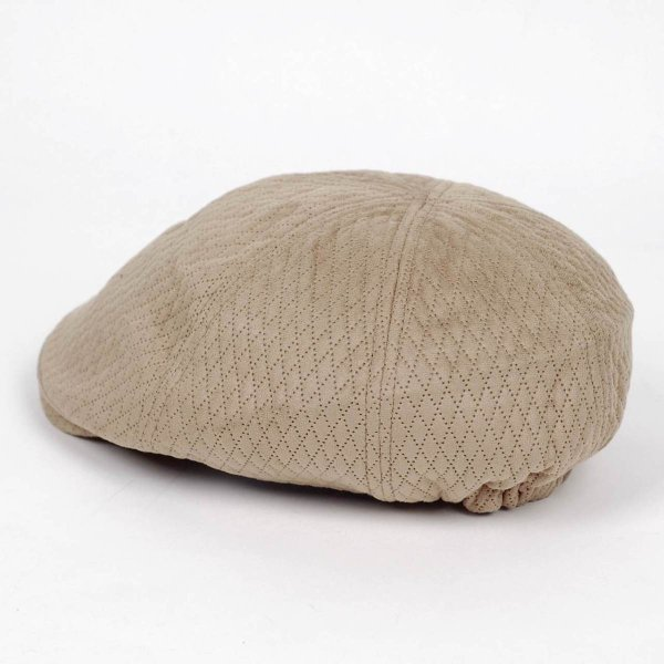 ハンチング メンズ レディース ベージュ色 スエード フェイクレザー 6枚 はぎ キャップ 帽子 55cm ゴムバンド式 coconoco 04
