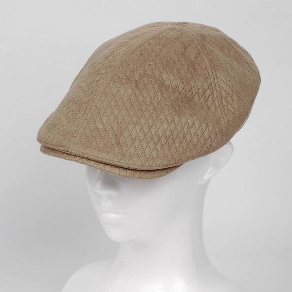 ハンチング メンズ レディース ベージュ色 スエード フェイクレザー 6枚 はぎ キャップ 帽子 55cm ゴムバンド式 coconoco 05