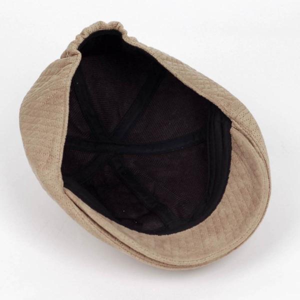 ハンチング メンズ レディース ベージュ色 スエード フェイクレザー 6枚 はぎ キャップ 帽子 55cm ゴムバンド式 coconoco 06