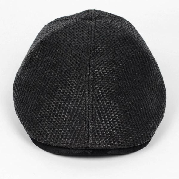ハンチング メンズ レディース ブラック色 麻 6枚 はぎ クラック ツバ キャップ 帽子 55cm ゴムバンド式|coconoco|02