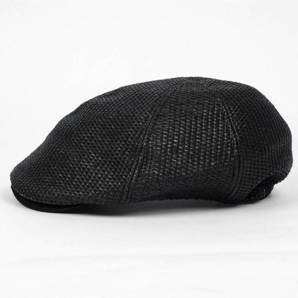 ハンチング メンズ レディース ブラック色 麻 6枚 はぎ クラック ツバ キャップ 帽子 55cm ゴムバンド式|coconoco|03