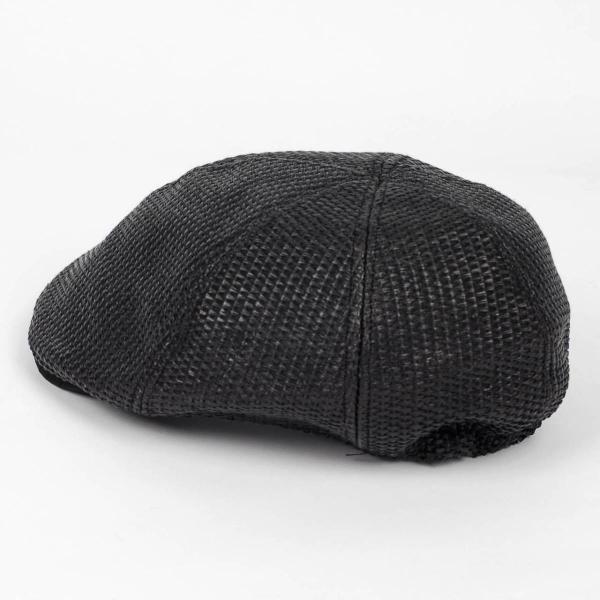 ハンチング メンズ レディース ブラック色 麻 6枚 はぎ クラック ツバ キャップ 帽子 55cm ゴムバンド式|coconoco|04