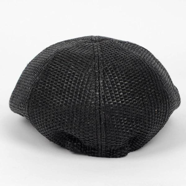 ハンチング メンズ レディース ブラック色 麻 6枚 はぎ クラック ツバ キャップ 帽子 55cm ゴムバンド式|coconoco|05