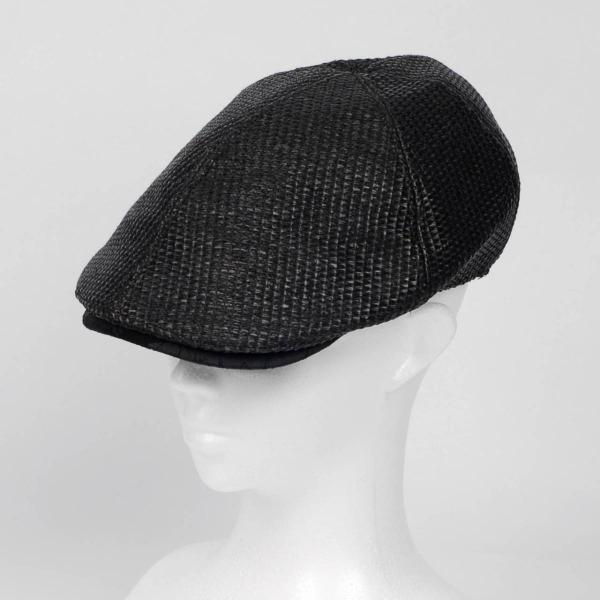 ハンチング メンズ レディース ブラック色 麻 6枚 はぎ クラック ツバ キャップ 帽子 55cm ゴムバンド式|coconoco|06
