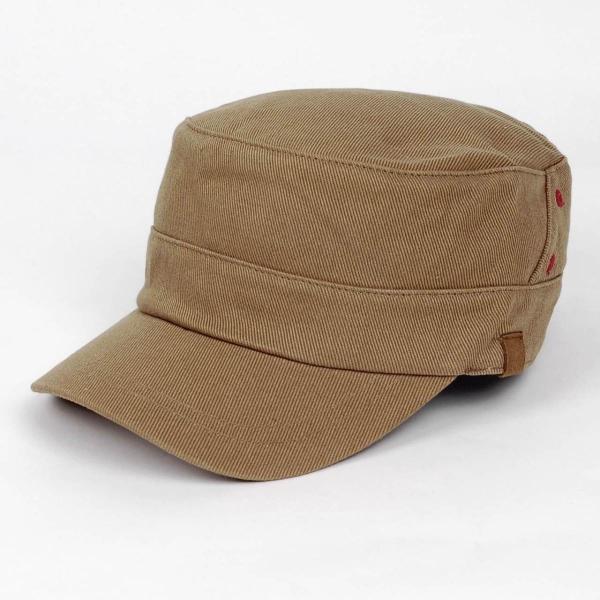 ワークキャップ 帽子 レッド ホール ブラウン ベージュ ミリタリー キャップ ゴムバンド式|coconoco