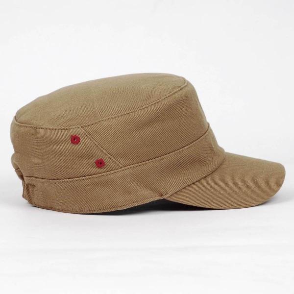 ワークキャップ 帽子 レッド ホール ブラウン ベージュ ミリタリー キャップ ゴムバンド式|coconoco|02