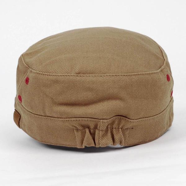 ワークキャップ 帽子 レッド ホール ブラウン ベージュ ミリタリー キャップ ゴムバンド式|coconoco|03