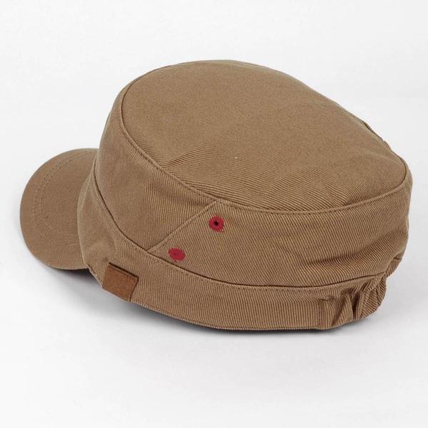 ワークキャップ 帽子 レッド ホール ブラウン ベージュ ミリタリー キャップ ゴムバンド式|coconoco|04