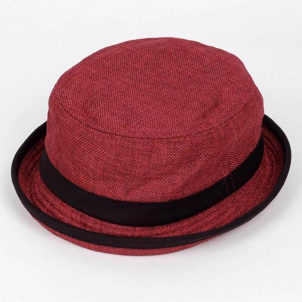 ポークパイハット メンズ レディース レッド色 黒バンド ハット帽子 男女兼用 帽子 56cm フリーサイズ|coconoco