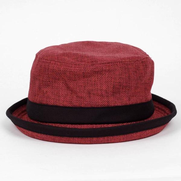 ポークパイハット メンズ レディース レッド色 黒バンド ハット帽子 男女兼用 帽子 56cm フリーサイズ|coconoco|02