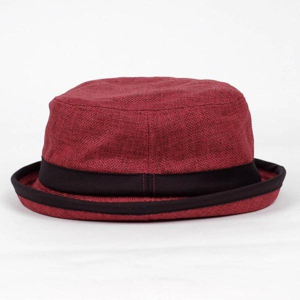 ポークパイハット メンズ レディース レッド色 黒バンド ハット帽子 男女兼用 帽子 56cm フリーサイズ|coconoco|04