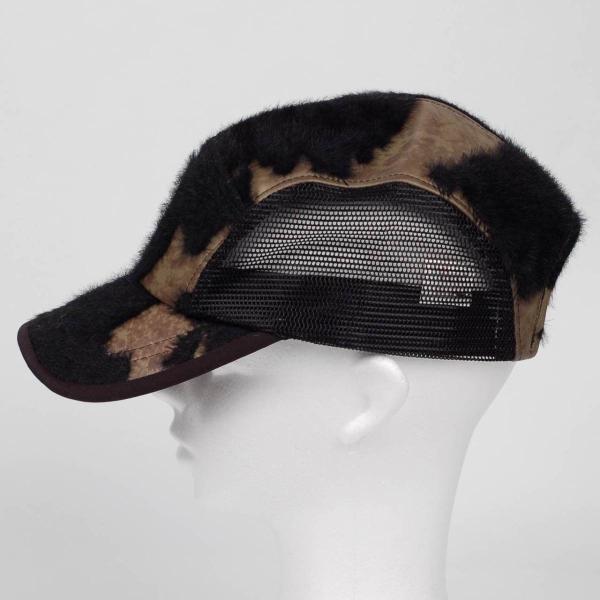 スナップバック キャップ フェイクレザー ファー ブラック ブラウン メッシュ 帽子 キャップ帽 coconoco 02