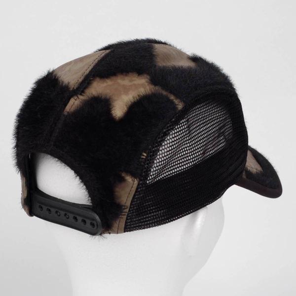 スナップバック キャップ フェイクレザー ファー ブラック ブラウン メッシュ 帽子 キャップ帽 coconoco 03