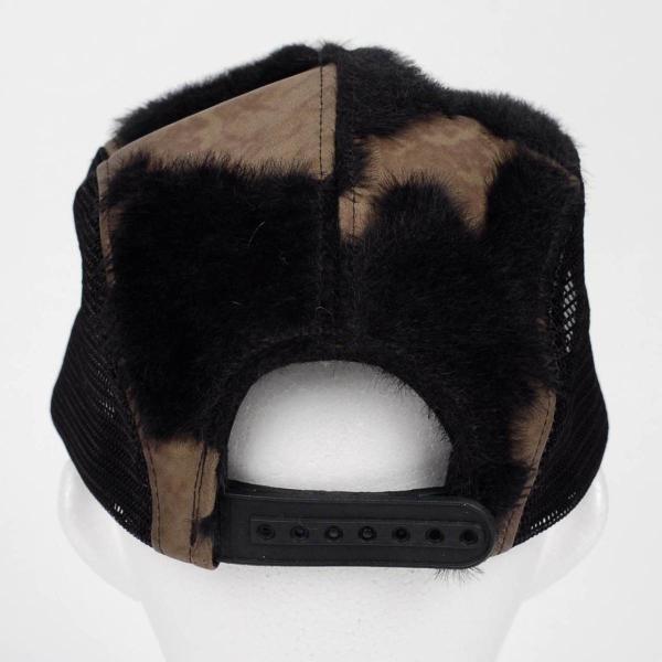 スナップバック キャップ フェイクレザー ファー ブラック ブラウン メッシュ 帽子 キャップ帽 coconoco 04