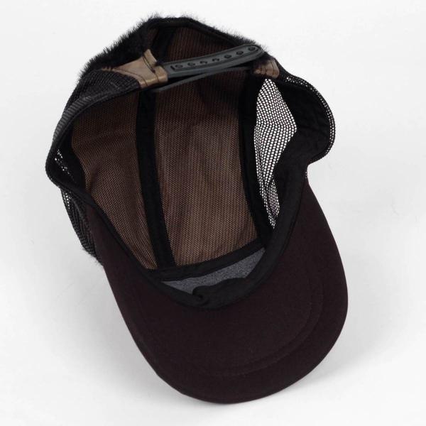スナップバック キャップ フェイクレザー ファー ブラック ブラウン メッシュ 帽子 キャップ帽 coconoco 05