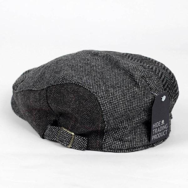 ハンチング帽 メンズ ウール ツイード 毛織 ブラック 黒色 秋 冬 ヘリンボーン グレンチェック アンバランス はぎ ハンチング キャップ 帽子 フリー(58cm)|coconoco|04