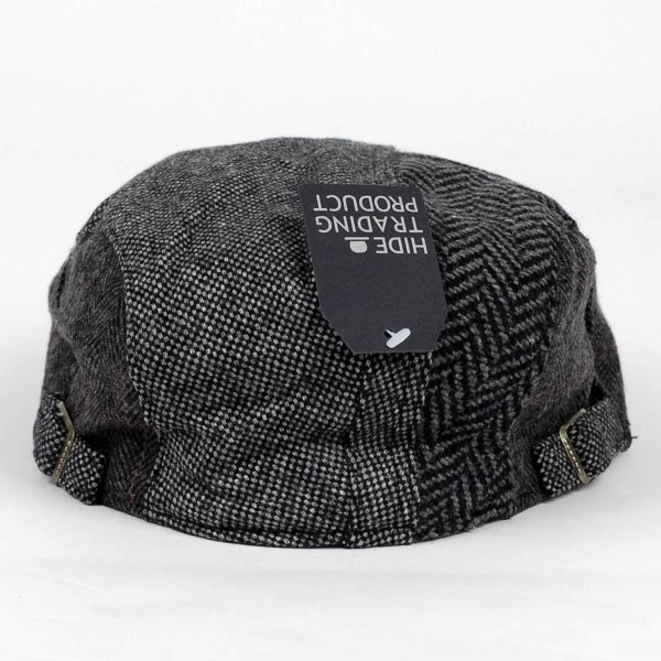 ハンチング帽 メンズ ウール ツイード 毛織 ブラック 黒色 秋 冬 ヘリンボーン グレンチェック アンバランス はぎ ハンチング キャップ 帽子 フリー(58cm)|coconoco|05