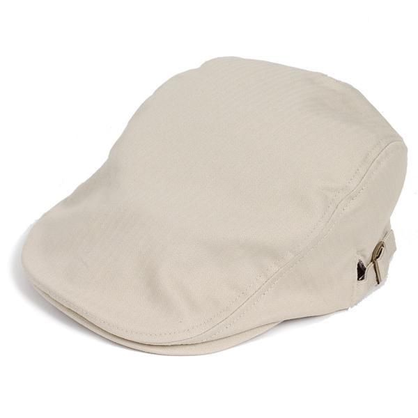 ハンチング帽 メンズ コットン ヘリンボーン ハンチングキャップ ライト ベージュ色 ハンチング帽子 フリーサイズ (58cm) 調整可能 ハンチングの定番|coconoco