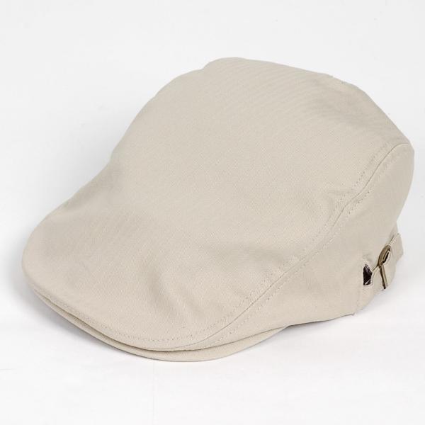 ハンチング帽 メンズ コットン ヘリンボーン ハンチングキャップ ライト ベージュ色 ハンチング帽子 フリーサイズ (58cm) 調整可能 ハンチングの定番|coconoco|02