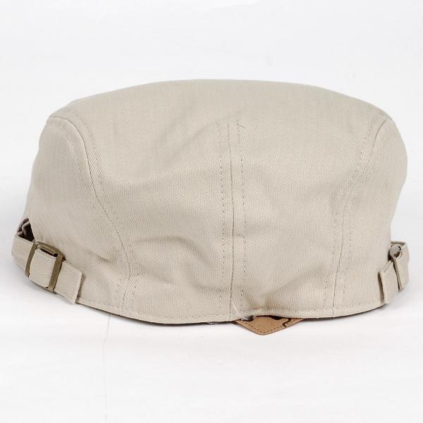 ハンチング帽 メンズ コットン ヘリンボーン ハンチングキャップ ライト ベージュ色 ハンチング帽子 フリーサイズ (58cm) 調整可能 ハンチングの定番|coconoco|05