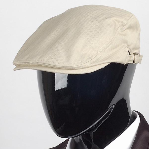 ハンチング帽 メンズ コットン ヘリンボーン ハンチングキャップ ライト ベージュ色 ハンチング帽子 フリーサイズ (58cm) 調整可能 ハンチングの定番|coconoco|10