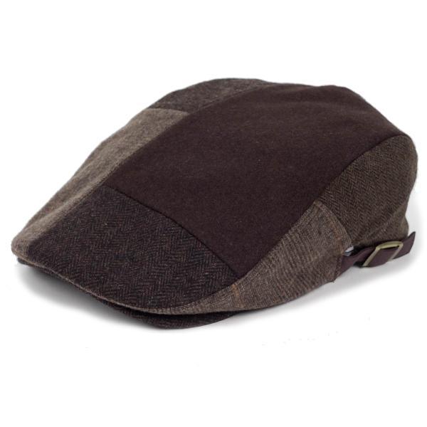 ハンチング メンズ ブラウン 茶色 ツイード 毛織 ウール ヘリンボーン グレンチェック ソリッド 8枚 はぎ ハンチング帽 キャップ 帽子 秋 冬 58cm 調整可|coconoco