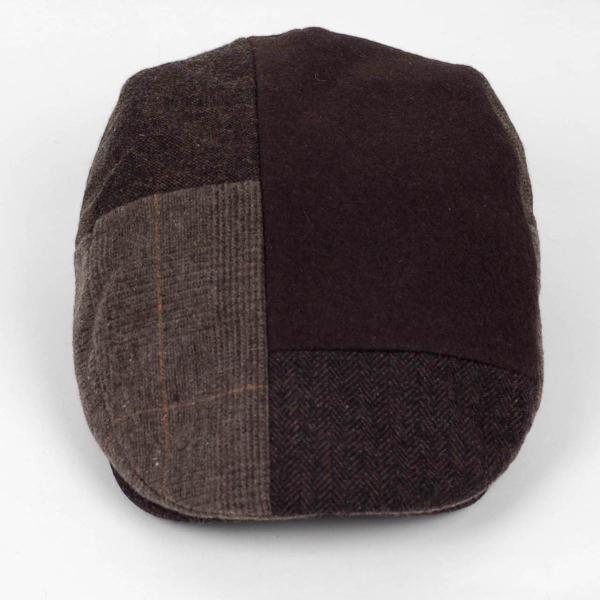 ハンチング メンズ ブラウン 茶色 ツイード 毛織 ウール ヘリンボーン グレンチェック ソリッド 8枚 はぎ ハンチング帽 キャップ 帽子 秋 冬 58cm 調整可|coconoco|02