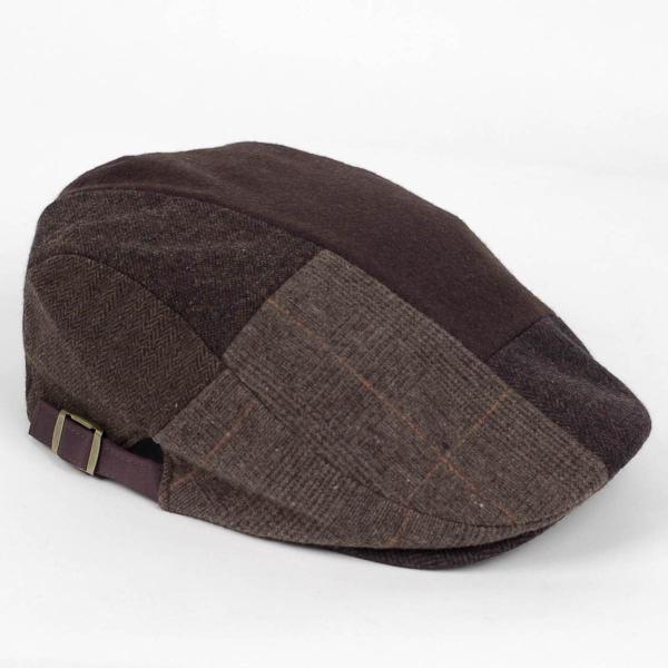 ハンチング メンズ ブラウン 茶色 ツイード 毛織 ウール ヘリンボーン グレンチェック ソリッド 8枚 はぎ ハンチング帽 キャップ 帽子 秋 冬 58cm 調整可|coconoco|03