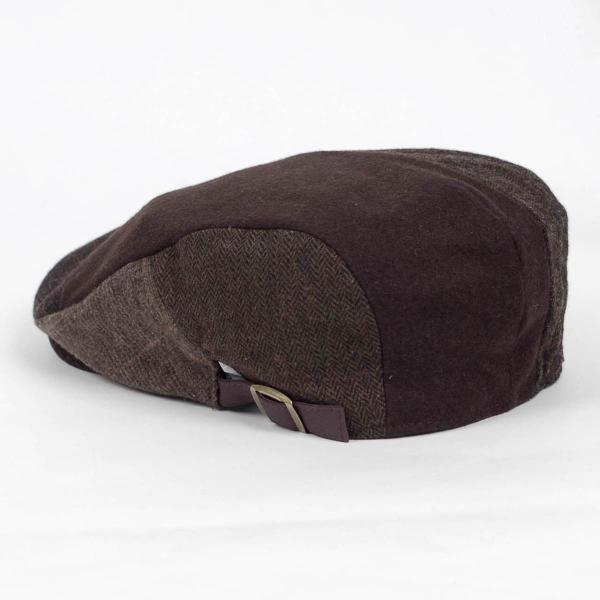 ハンチング メンズ ブラウン 茶色 ツイード 毛織 ウール ヘリンボーン グレンチェック ソリッド 8枚 はぎ ハンチング帽 キャップ 帽子 秋 冬 58cm 調整可|coconoco|04