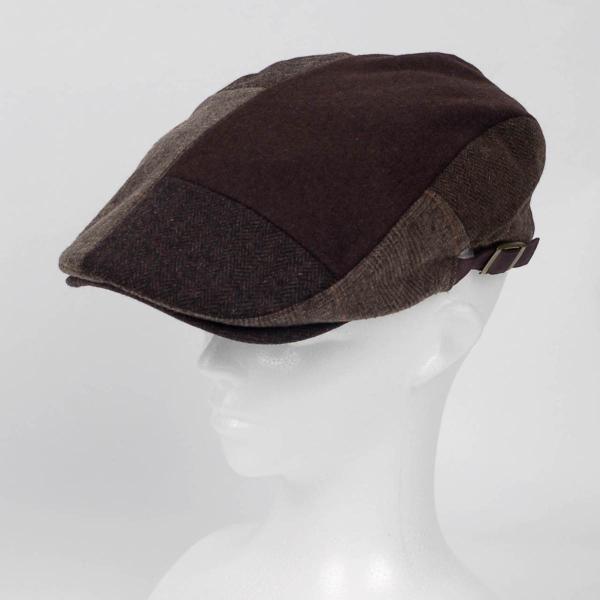 ハンチング メンズ ブラウン 茶色 ツイード 毛織 ウール ヘリンボーン グレンチェック ソリッド 8枚 はぎ ハンチング帽 キャップ 帽子 秋 冬 58cm 調整可|coconoco|05