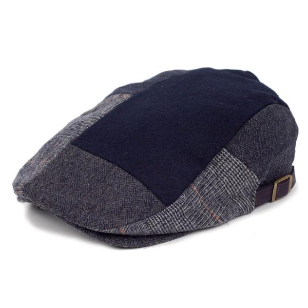 ハンチング メンズ ネイビー ブルー色 ツイード 毛織 ウール ヘリンボーン グレンチェック ソリッド 8枚 はぎ ハンチング帽 キャップ 帽子 秋 冬 58cm 調整可|coconoco