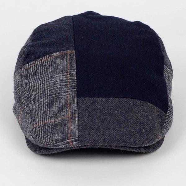 ハンチング メンズ ネイビー ブルー色 ツイード 毛織 ウール ヘリンボーン グレンチェック ソリッド 8枚 はぎ ハンチング帽 キャップ 帽子 秋 冬 58cm 調整可|coconoco|02