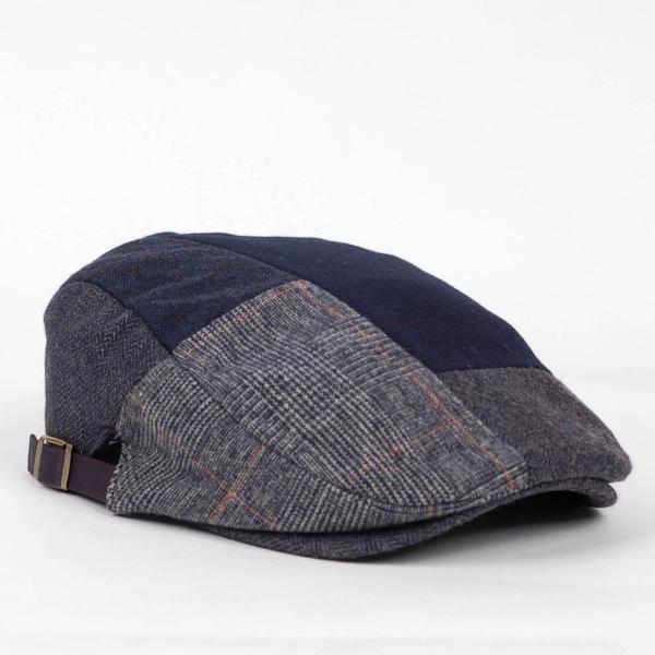 ハンチング メンズ ネイビー ブルー色 ツイード 毛織 ウール ヘリンボーン グレンチェック ソリッド 8枚 はぎ ハンチング帽 キャップ 帽子 秋 冬 58cm 調整可|coconoco|03