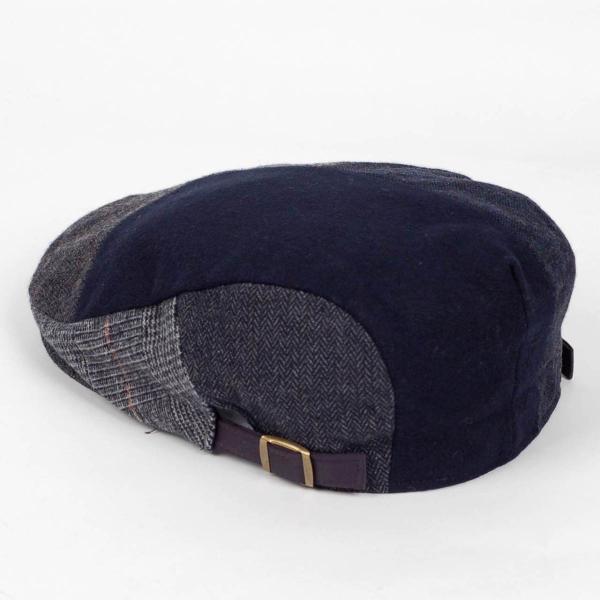 ハンチング メンズ ネイビー ブルー色 ツイード 毛織 ウール ヘリンボーン グレンチェック ソリッド 8枚 はぎ ハンチング帽 キャップ 帽子 秋 冬 58cm 調整可|coconoco|04