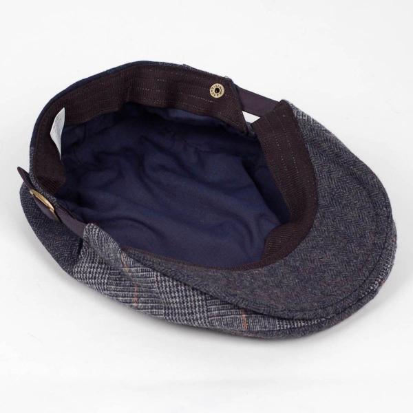ハンチング メンズ ネイビー ブルー色 ツイード 毛織 ウール ヘリンボーン グレンチェック ソリッド 8枚 はぎ ハンチング帽 キャップ 帽子 秋 冬 58cm 調整可|coconoco|05