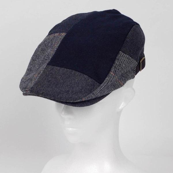 ハンチング メンズ ネイビー ブルー色 ツイード 毛織 ウール ヘリンボーン グレンチェック ソリッド 8枚 はぎ ハンチング帽 キャップ 帽子 秋 冬 58cm 調整可|coconoco|06