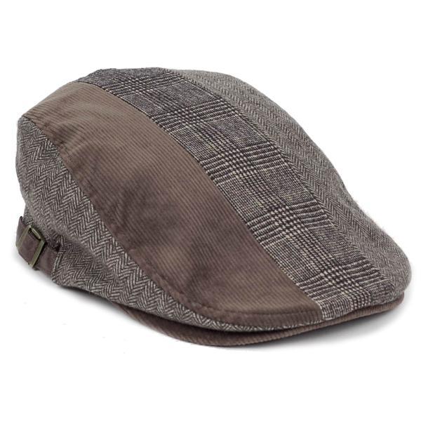 ハンチング メンズ レディース ブラウン 茶色 ヘリンボーン グレンチェック ソリッド 3枚 はぎ 切替 ツイード 毛織 キャップ 帽子 58cm 調整可|coconoco